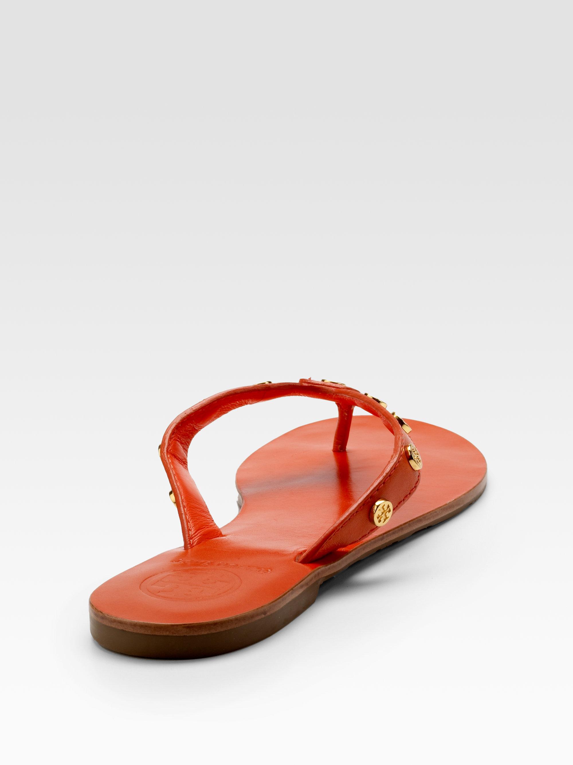 Tory Burch Sav Studded Flip Flops In Orange - Lyst-4222