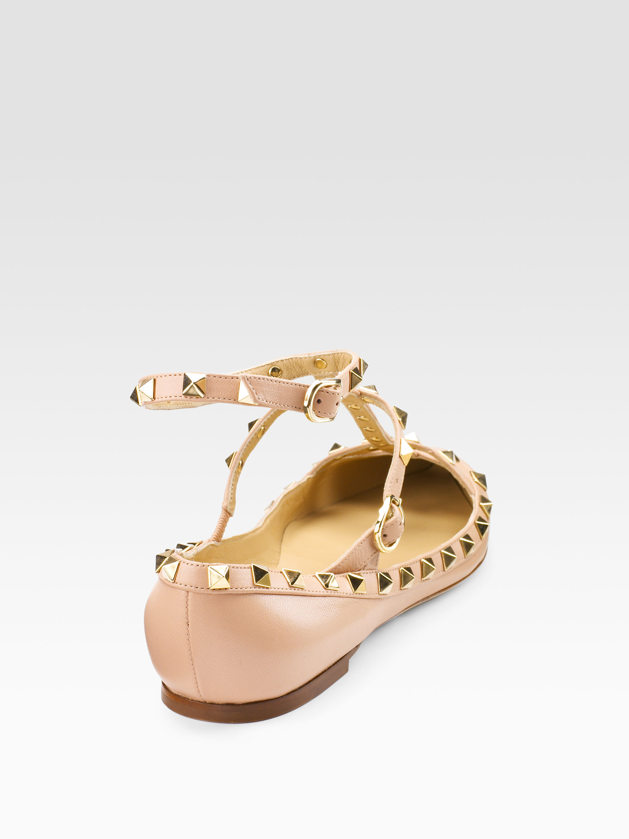 Valentino Studded Flat Sandals In Pink Lyst