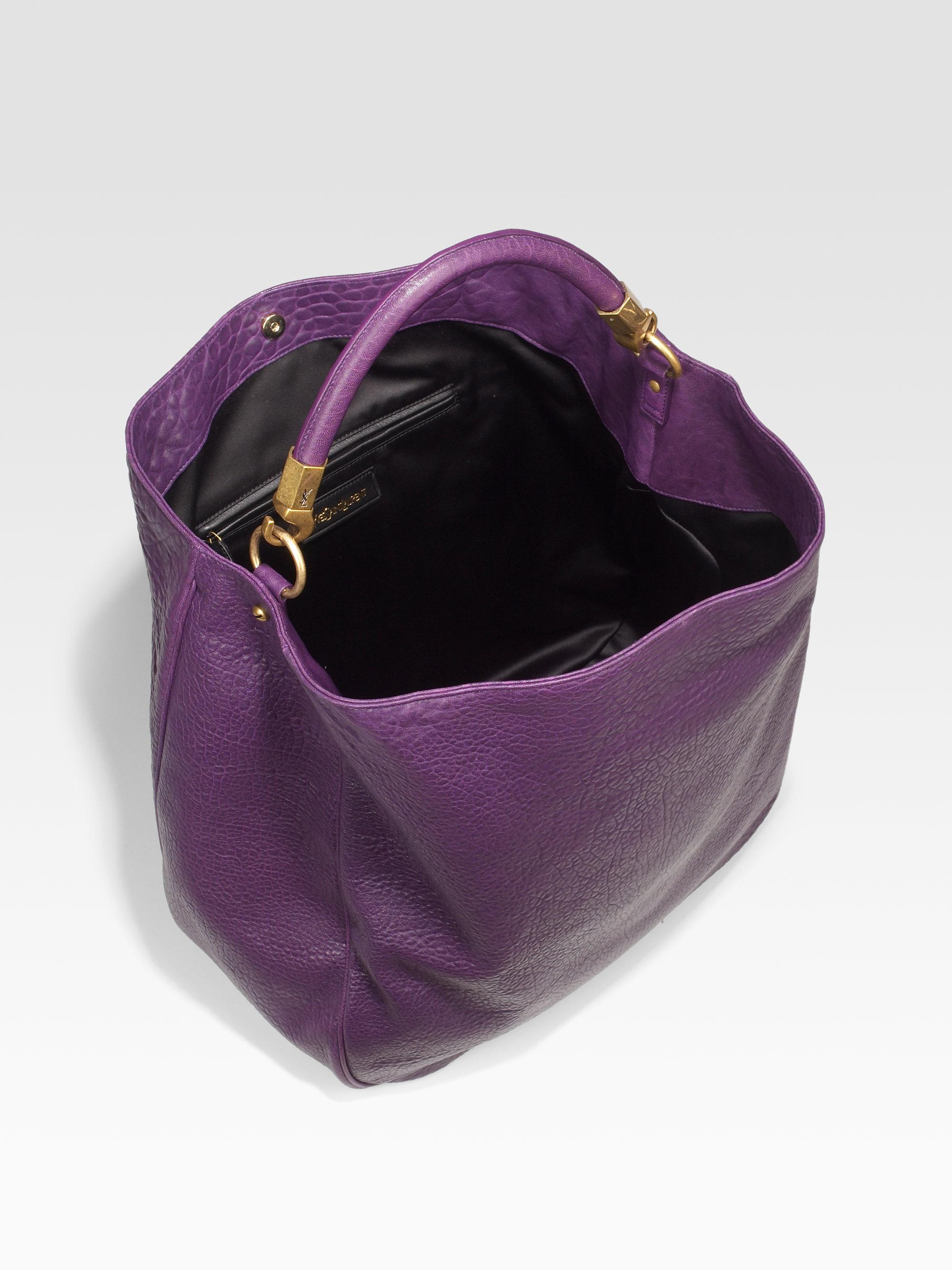 ysl card holder - Saint laurent Roady Pebbled Leather Hobo in Purple (violet) | Lyst