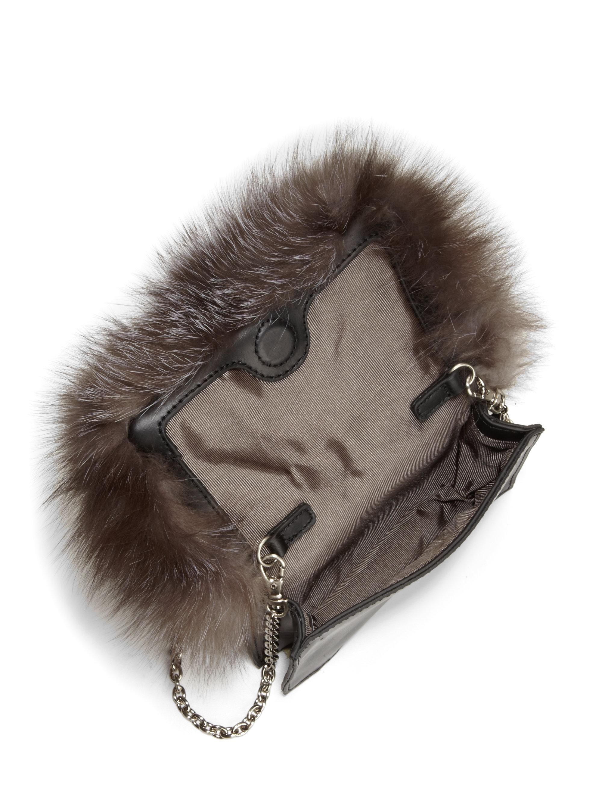 baby bag prada - Z spoke by zac posen Tina Silver Fox Fur Crossbody Bag in Brown ...