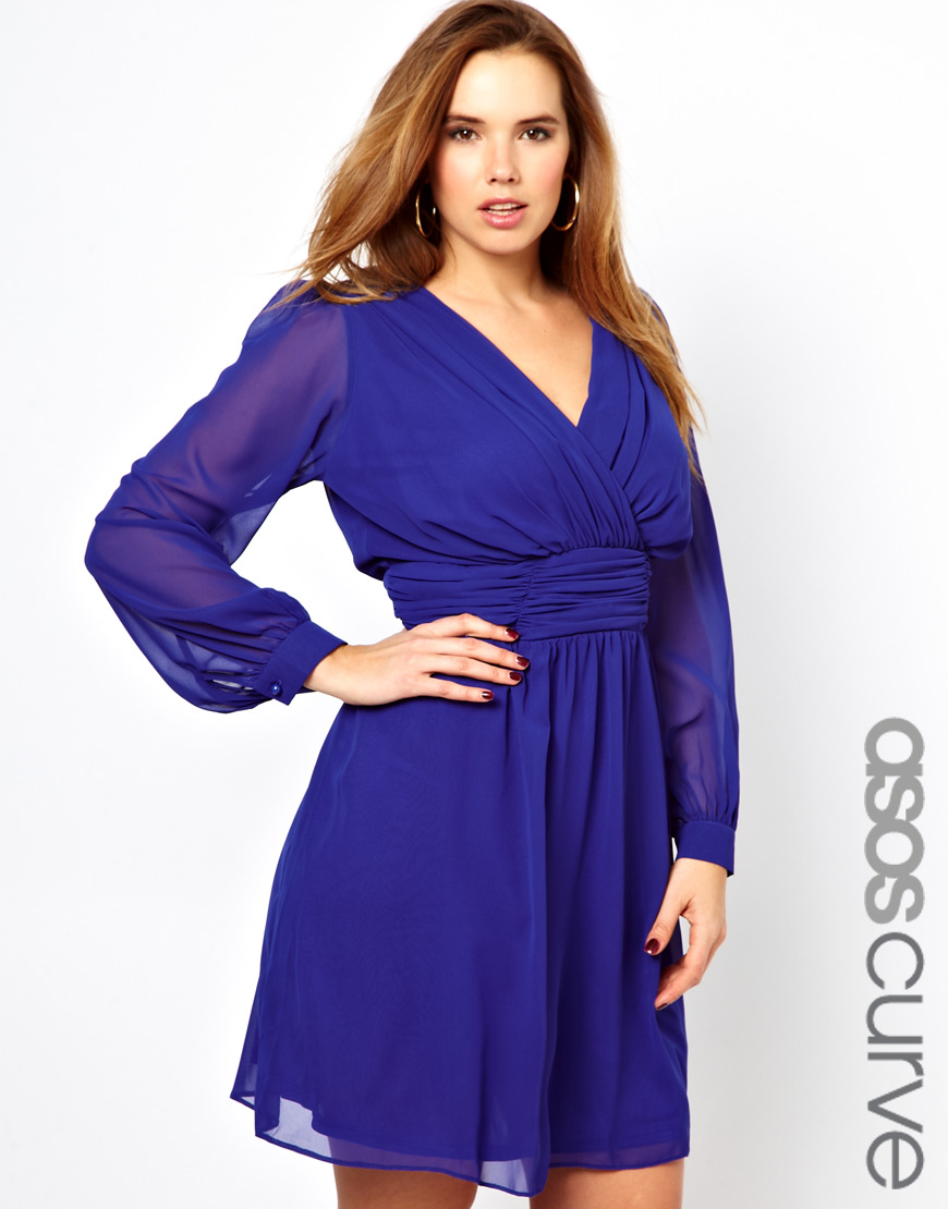 Asos Asos Curve Wrap Dress with Blouson Sleeve in Blue  Lyst