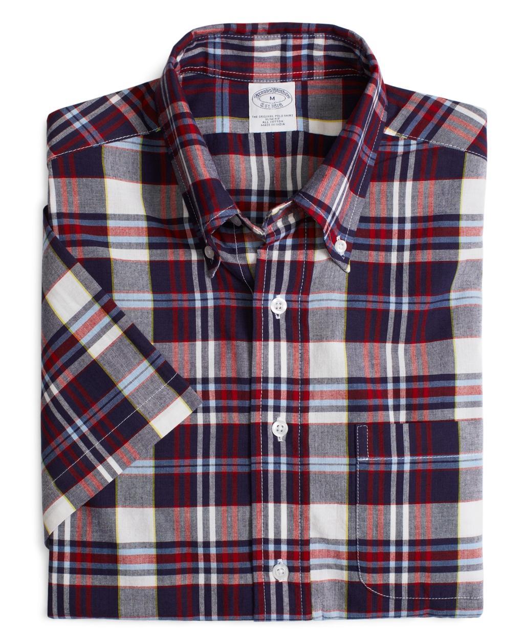 Brooks brothers slim fit americana plaid madras for Mens madras shirt sale