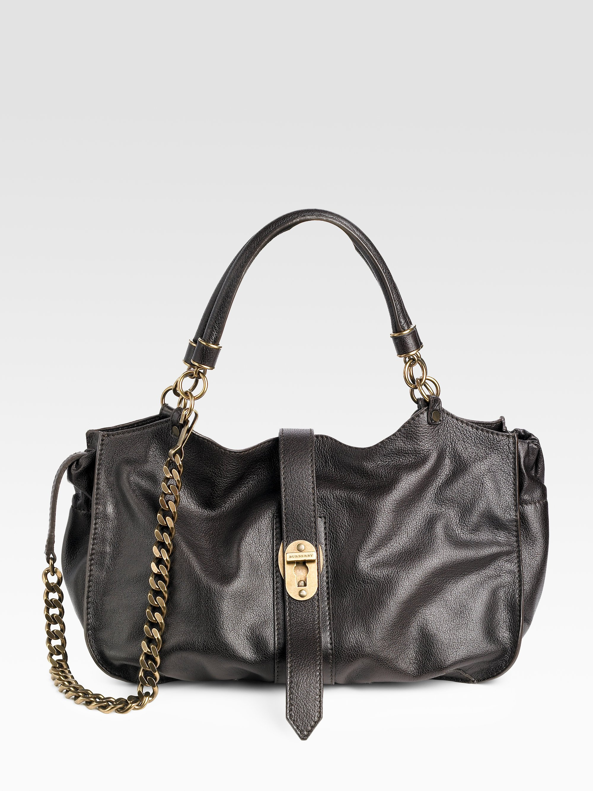 93b72ee145b8 Lyst - Burberry Medium Leather Chain Tote in Brown