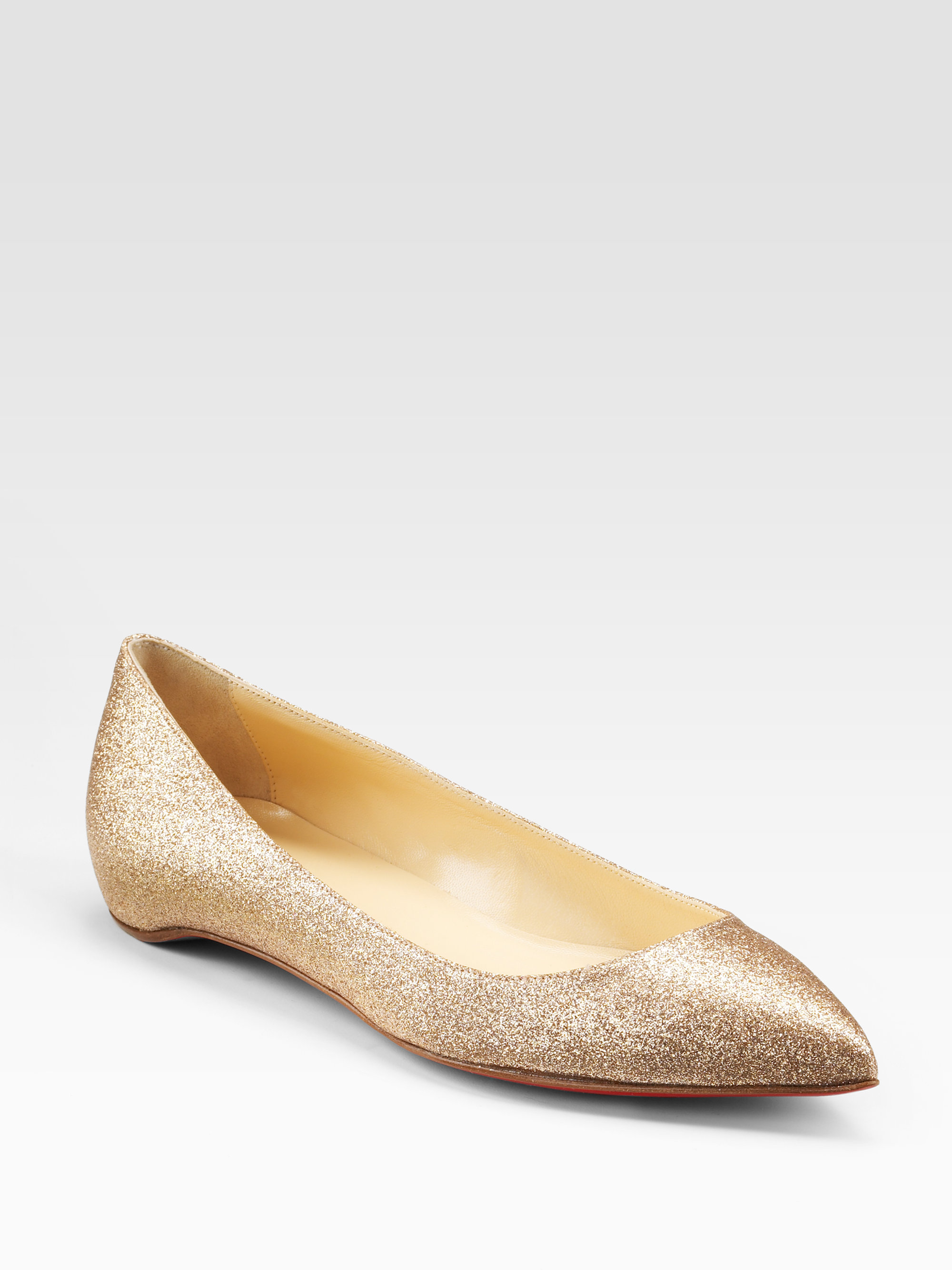 official photos 5a761 1db21 Christian Louboutin Metallic Pigalle Glittercovered Leather Ballet Flats