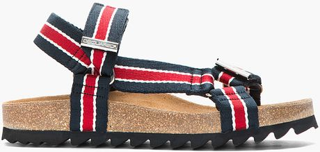 Dsquared² Navy Red Striped Multistrap Sandals in Red for Men (navy)