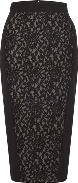 French Connection Cole Cotton Pencil Skirt in Black