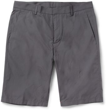 Jil Sander Grey Straight Leg Cotton Suit Shorts - Lyst