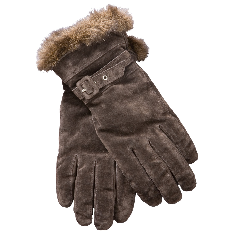 4c8c0cd6792e John Lewis Faux Fur Trim Suede Gloves in Brown - Lyst