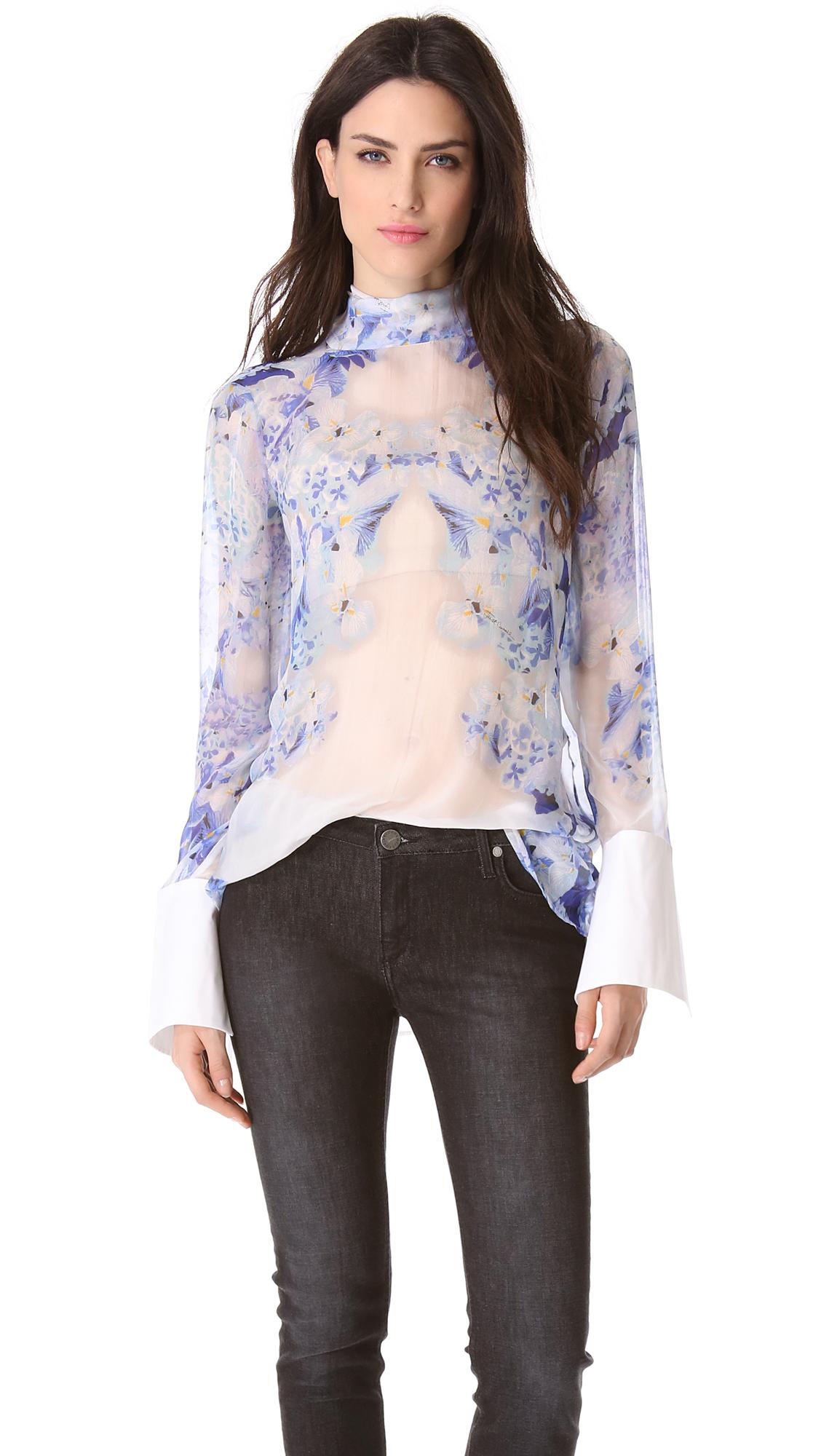 Donna Karan Silk Organza Tunic Blouse 50