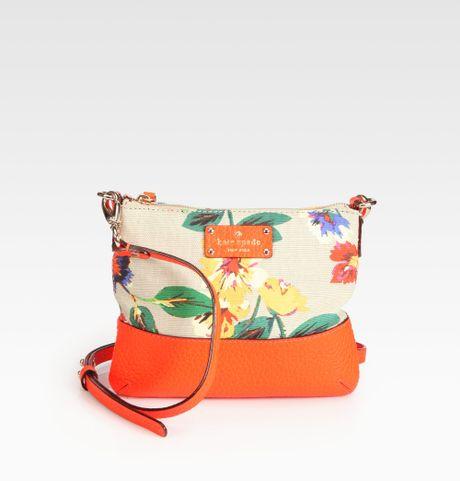 Kate Spade Tenley Floral Mixedmedia Crossbody Bag In Orange (orange Multi) | Lyst
