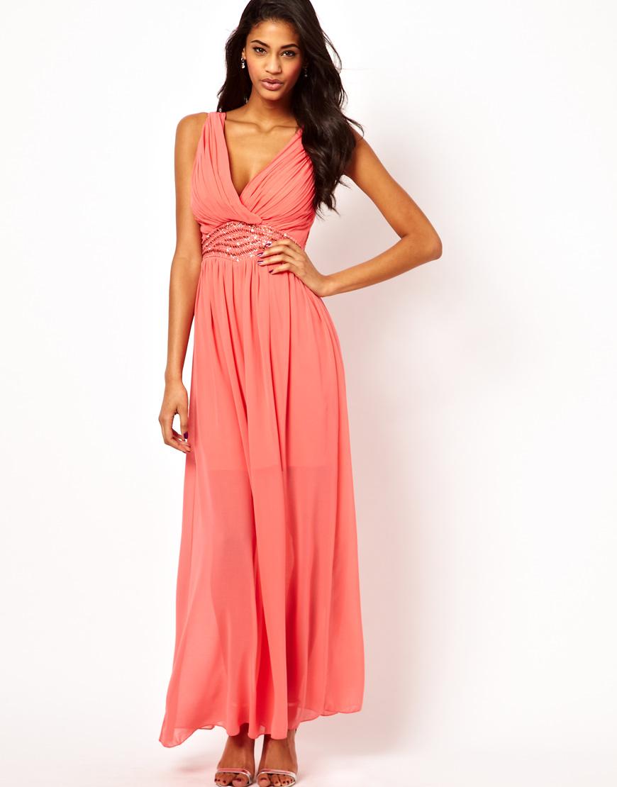 c7b524515d Little Mistress Wrap Front Embellished Waist Maxi Dress in Pink - Lyst