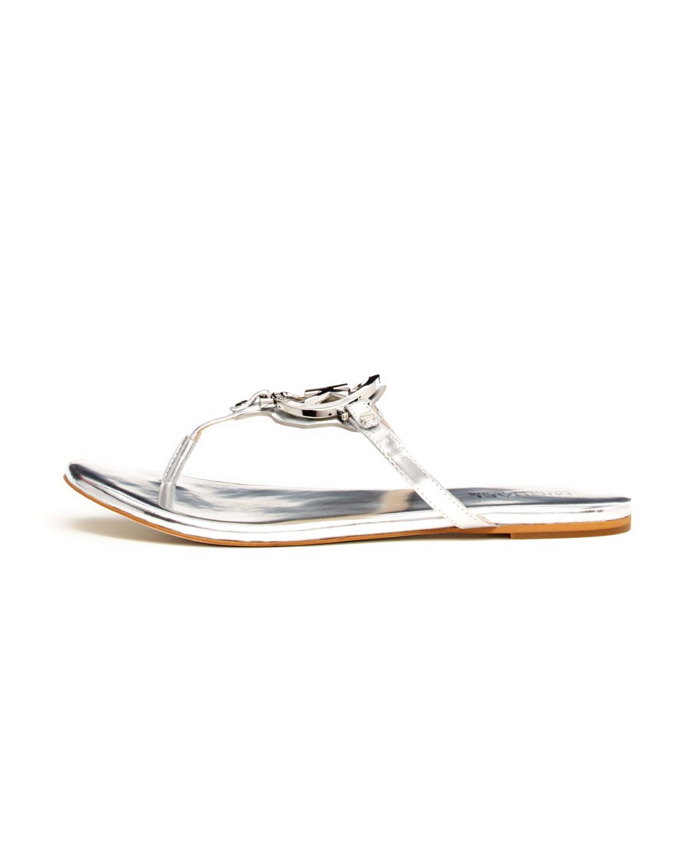 d6f432dc047b Lyst - Michael Kors Melodie Metallic Logo Thong Sandal in Metallic