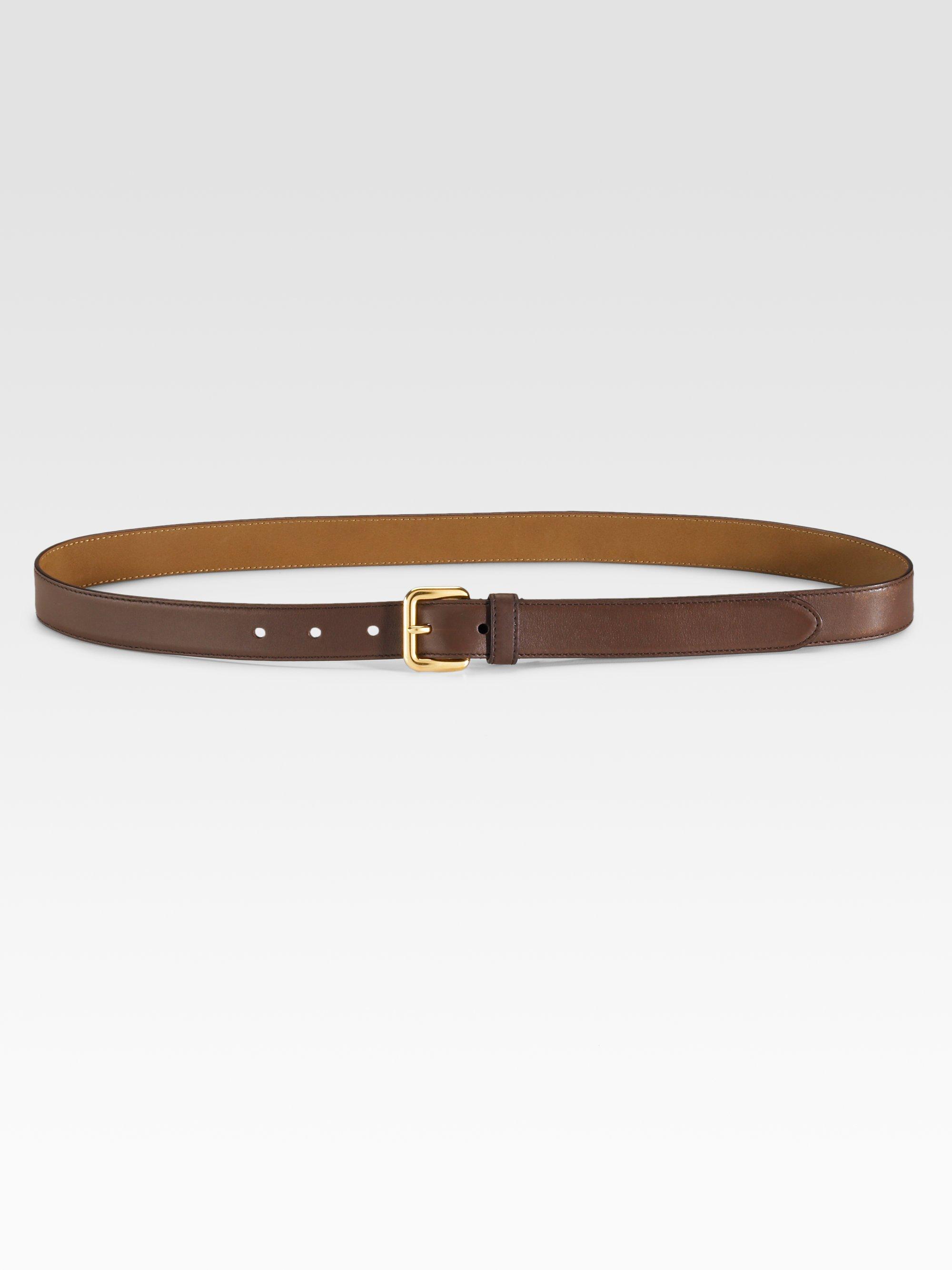 Prada Skinny Vitello Leather Belt in Brown | Lyst