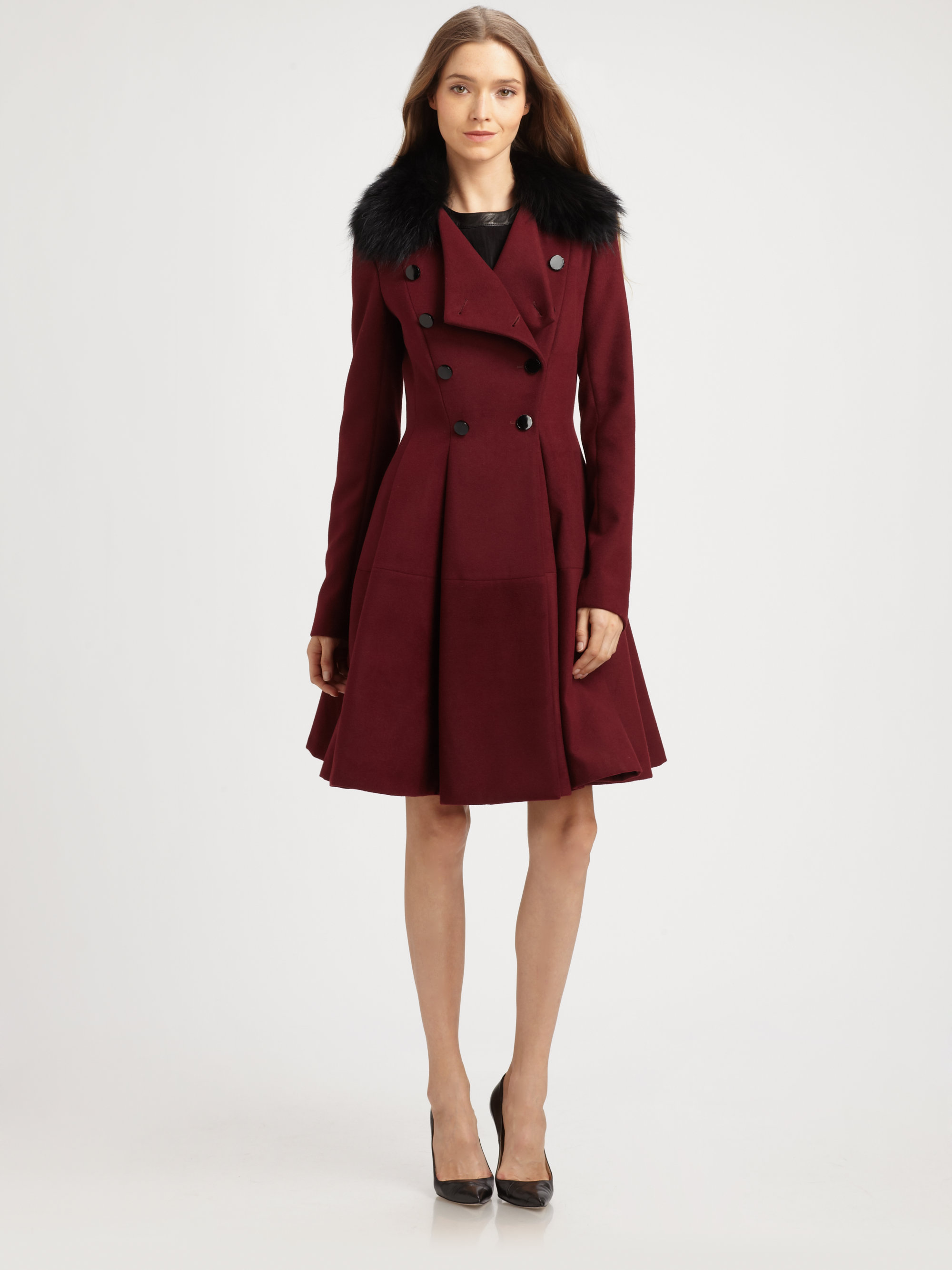 Lyst Robert Rodriguez Fit Flare Coat In Purple