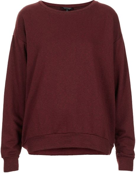 Topshop Curve Hem Sweat in Purple (burgundy)