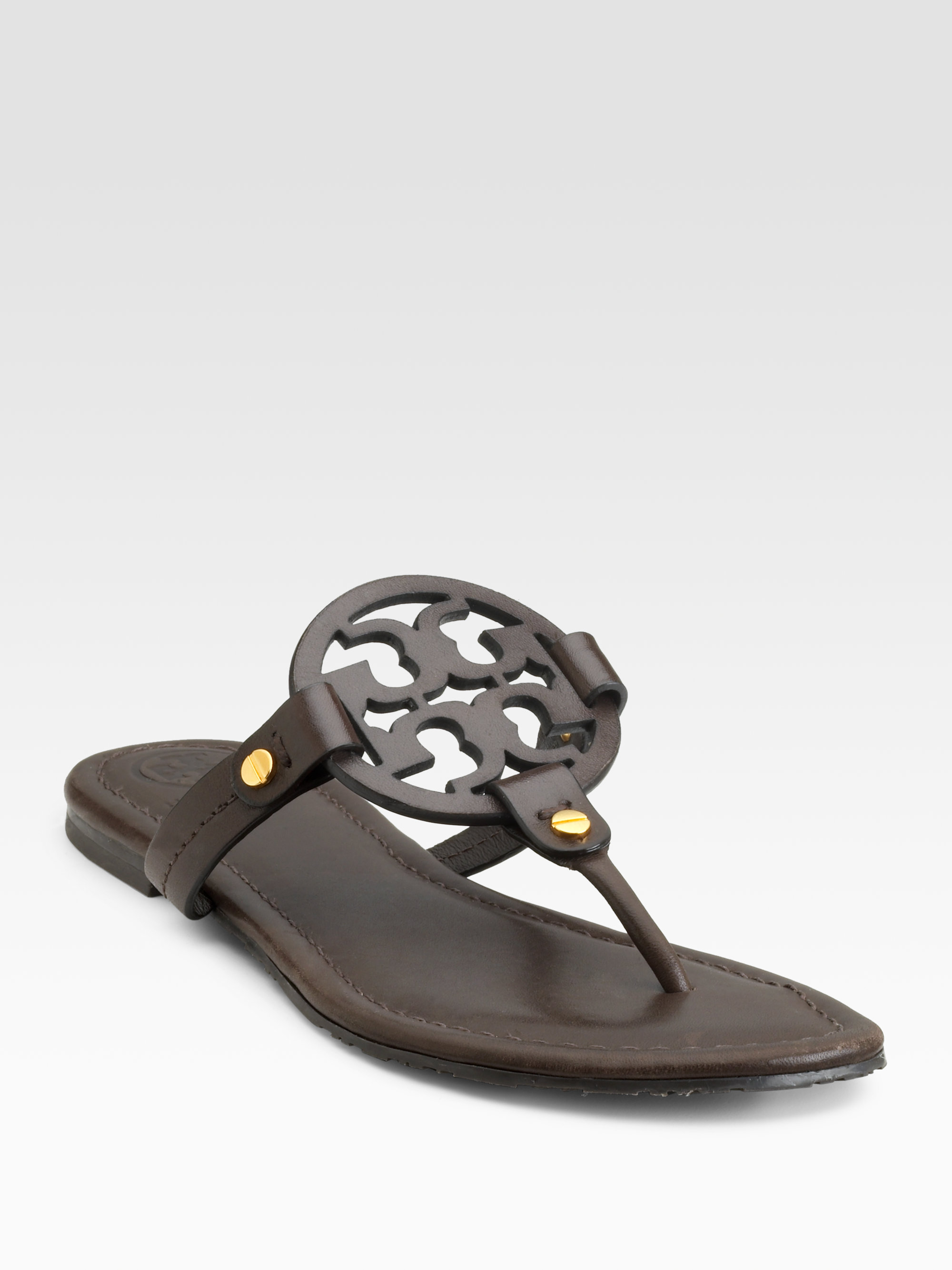 c67e5068573 Lyst - Tory Burch Miller Thong Sandals in Brown