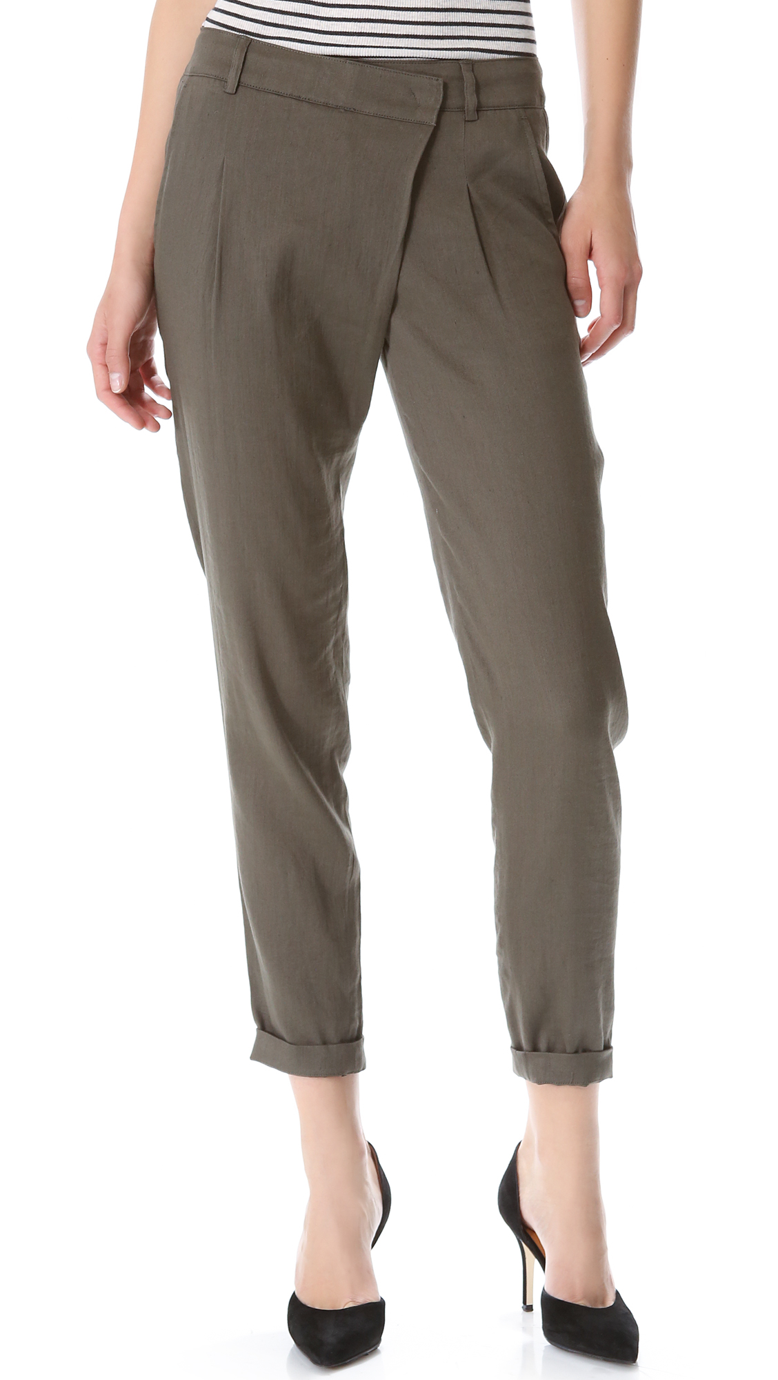 Vince Crossover Linen Pants Coastal In Olive Green Lyst
