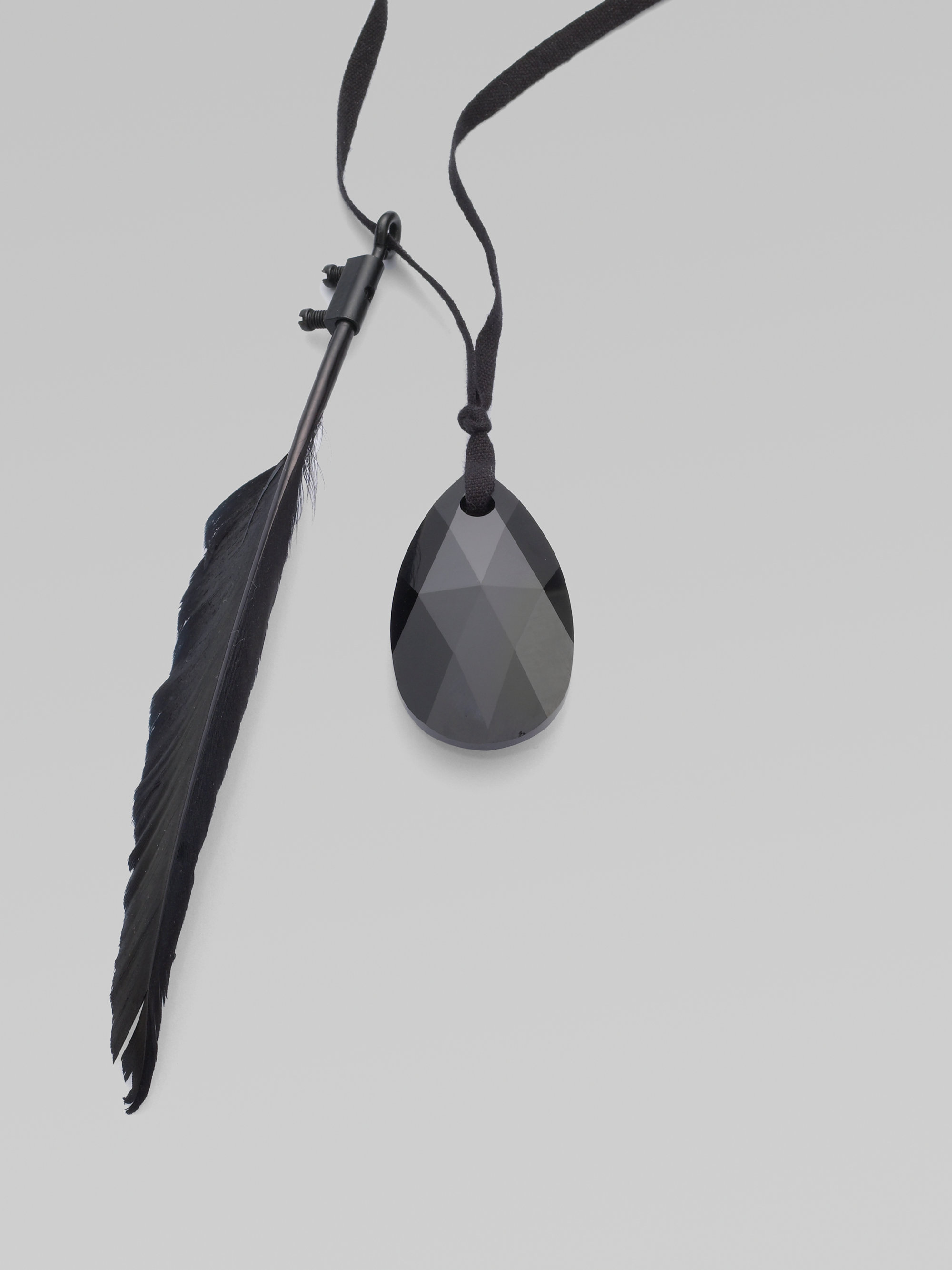 Ann Demeulemeester Feather Amp Swarovski Stone Necklace In