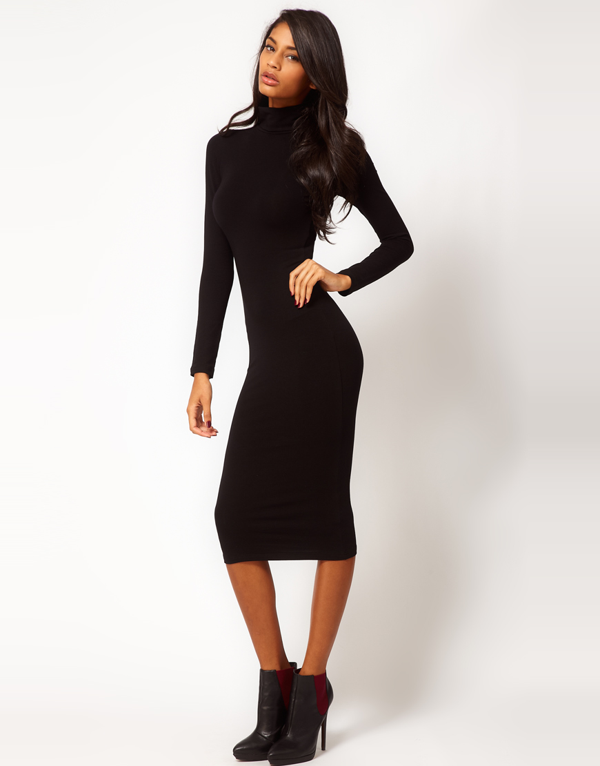 Asos Midi Bodycon Dress with Poloneck and Long Sleeves in Black | Lyst