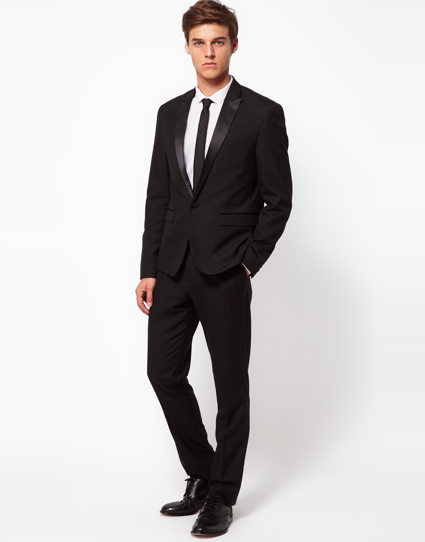 Asos Slim Fit Tuxedo Suit Jacket In Black For Men Lyst