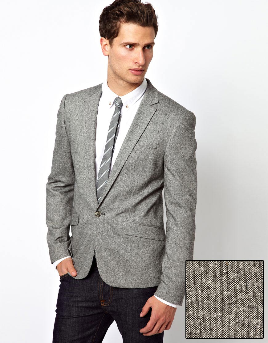 Asos Asos Slim Fit Suit Jacket in Tweed in Gray for Men | Lyst