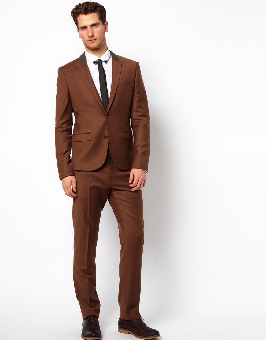 Lyst Asos Slim Fit Suit Jacket In Rust In Brown For Men
