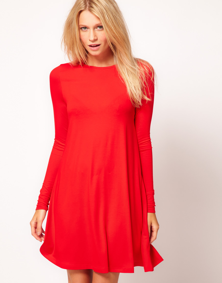 Lyst Asos Collection Swing Dress With Long Sleeves In Red
