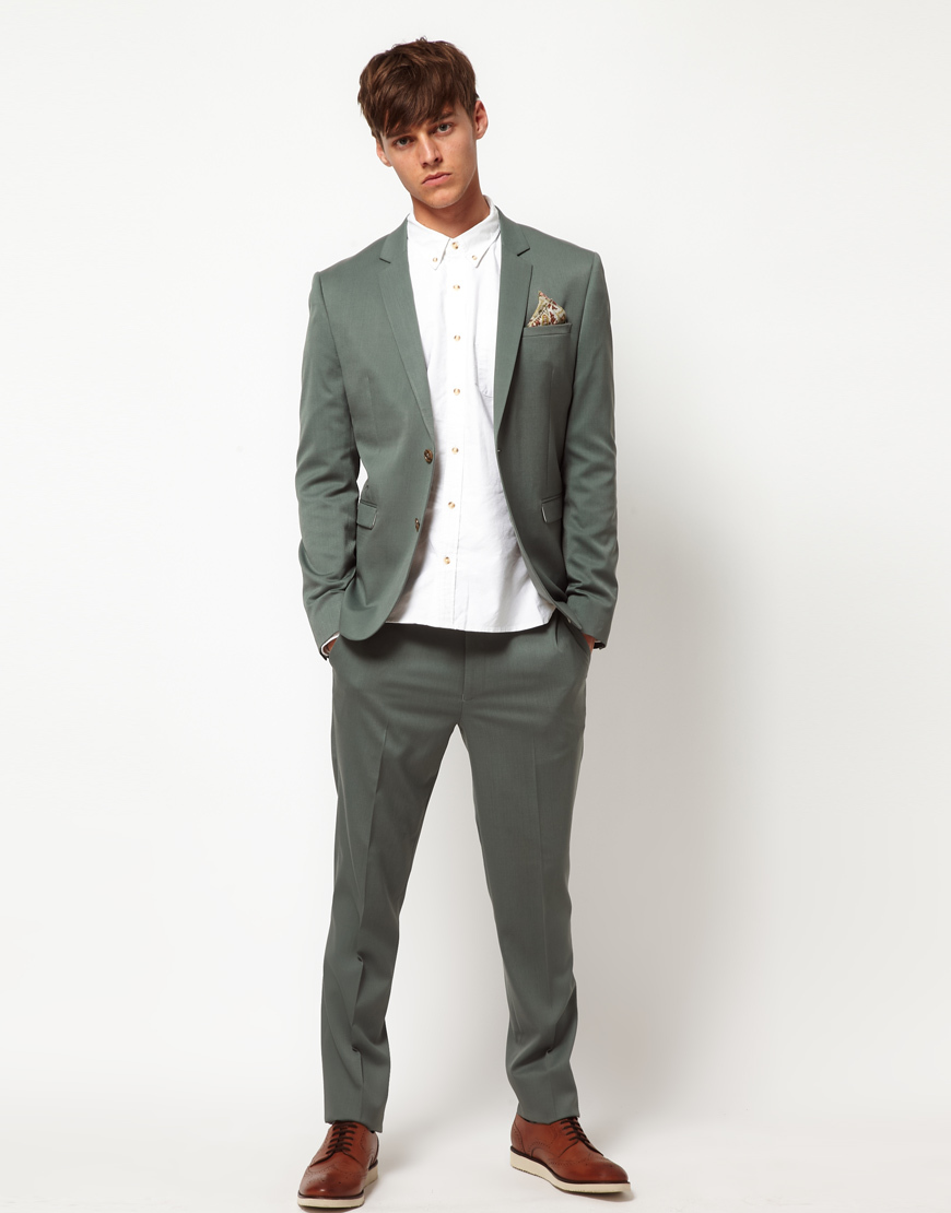 Asos Skinny Fit Suit Jacket in Wool Blend in Green for Men | Lyst