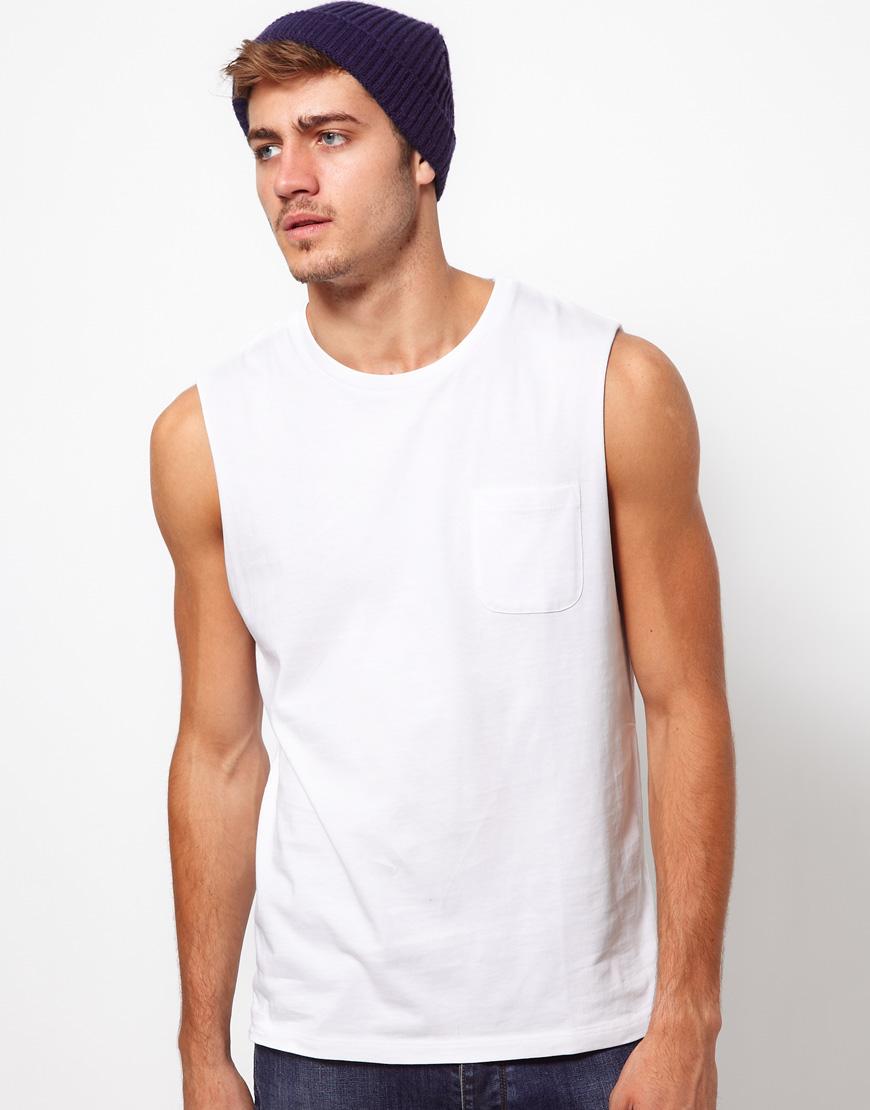 Asos sleeveless t shirt with pocket in white for men lyst for I will t shirt