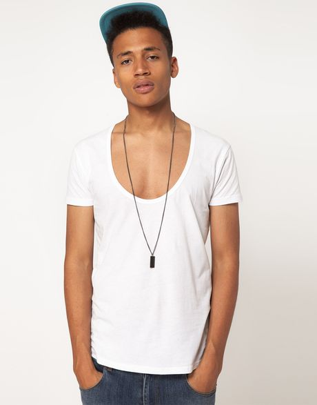 Asos t shirt with deep scoop neck in white for men lyst for Deep scoop neck t shirt