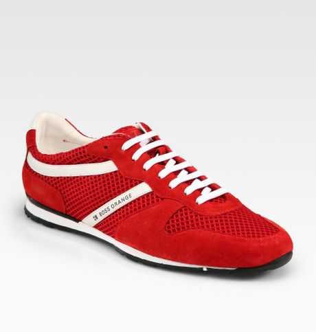 boss orange orienno laceup sneakers in red for men bright. Black Bedroom Furniture Sets. Home Design Ideas