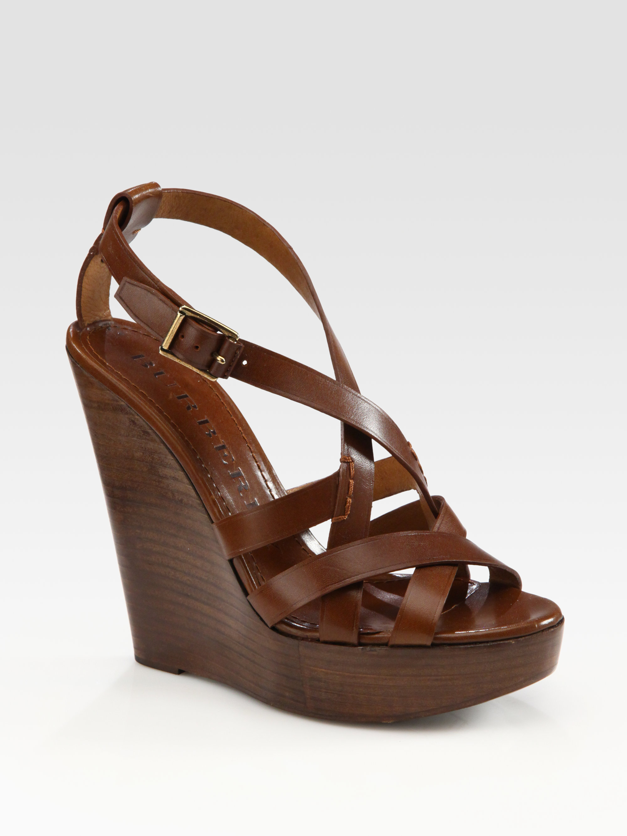 burberry leather slingback wedge sandals in brown