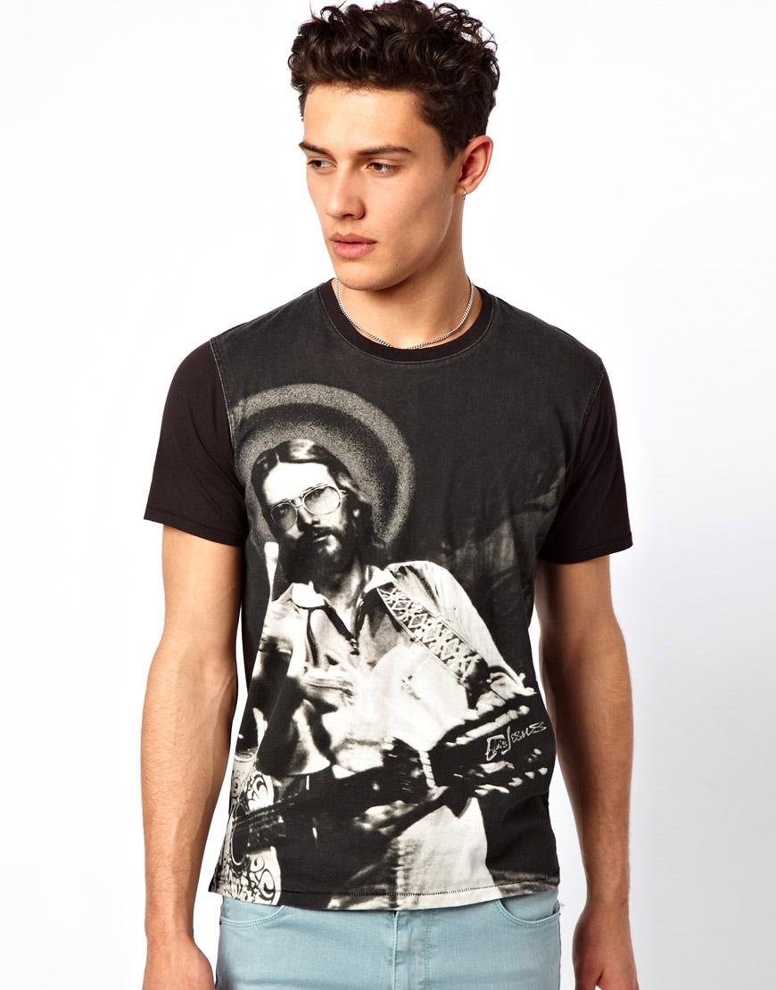 Elvis jesus fingered t shirt in black for men lyst for Elvis jesus t shirt