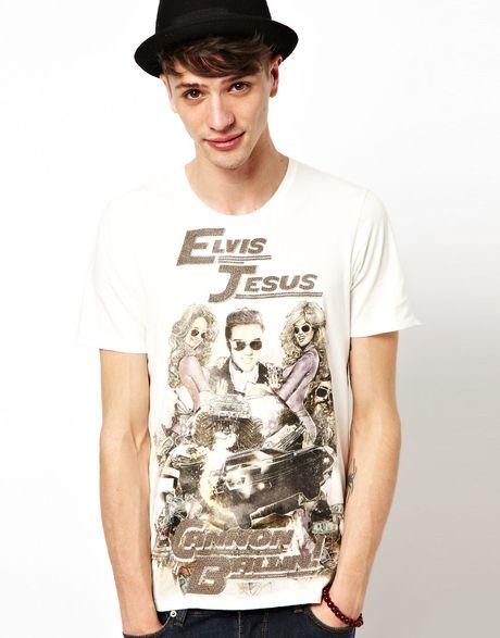 Elvis Jesus Crew Print T Shirt In White For Men Lyst