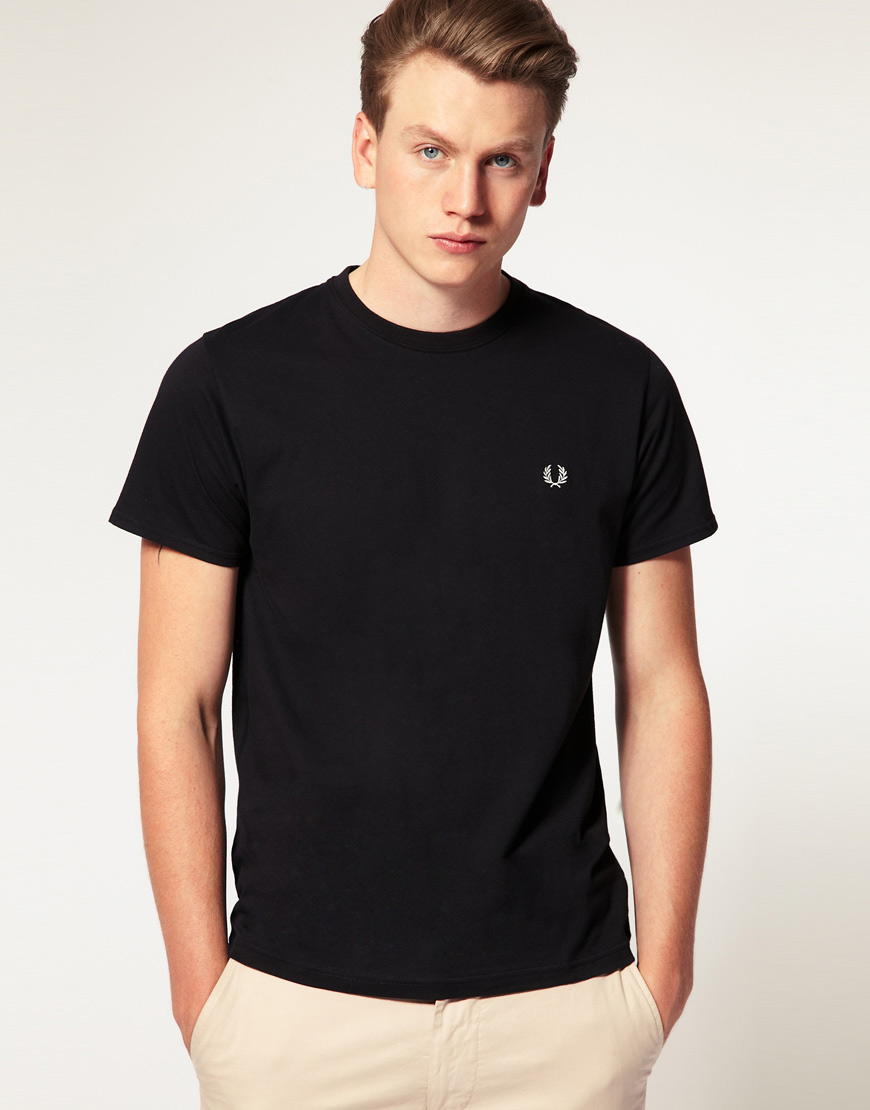Lyst fred perry t shirt with crew neck in black in black for Fred perry mens shirts sale