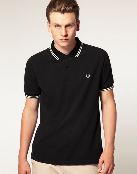 fred perry slim fit twin tipped polo top in black for men. Black Bedroom Furniture Sets. Home Design Ideas