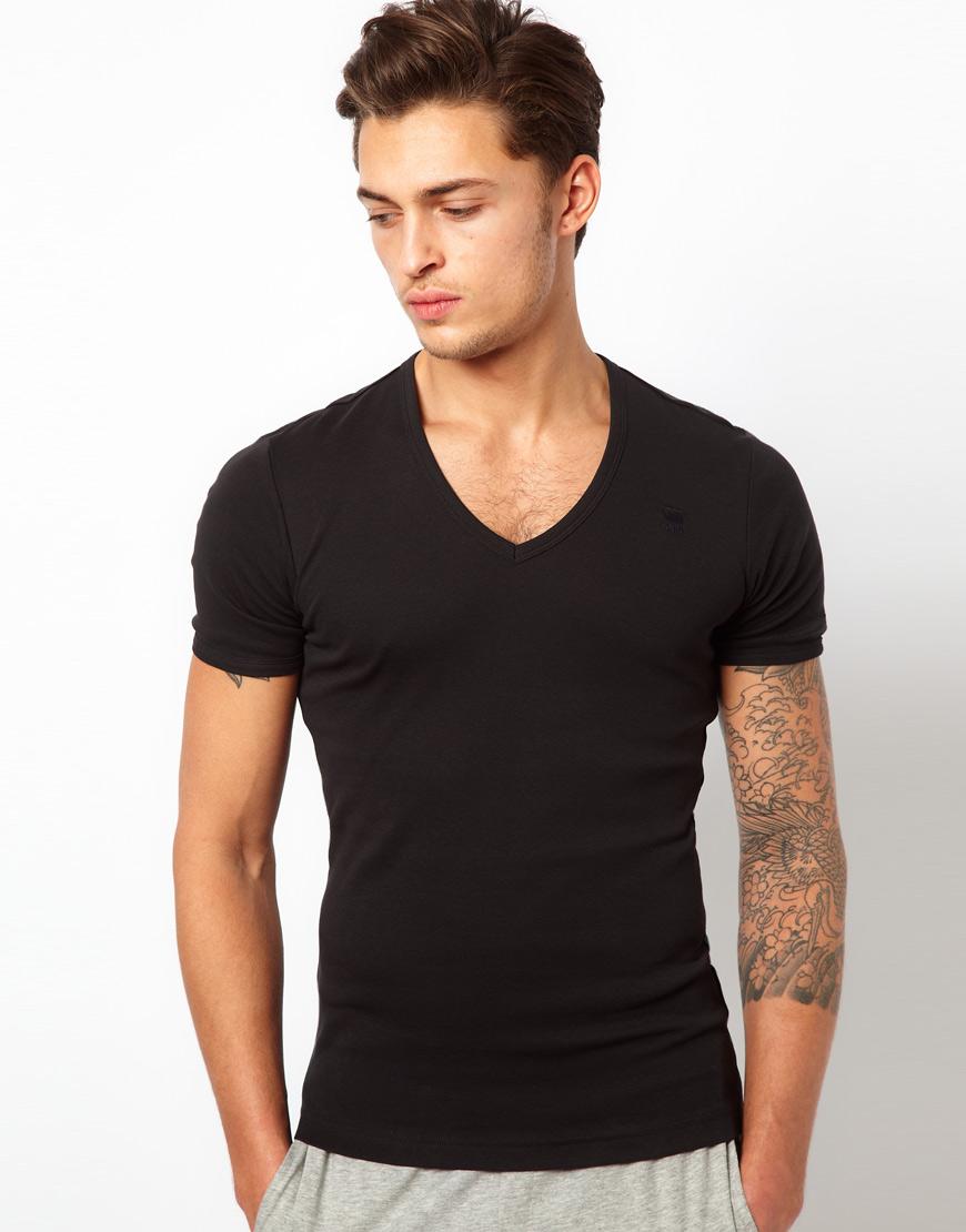 g star raw g star 2 pack v neck t shirt in black for men. Black Bedroom Furniture Sets. Home Design Ideas
