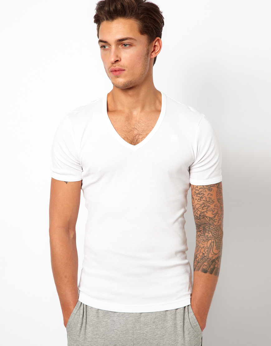 star raw g star two pack v neck t shirt in white for men lyst. Black Bedroom Furniture Sets. Home Design Ideas
