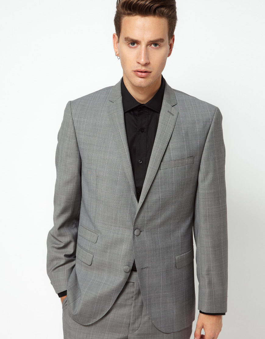 Gibson Suit Jacket Check Slim in Gray for Men | Lyst