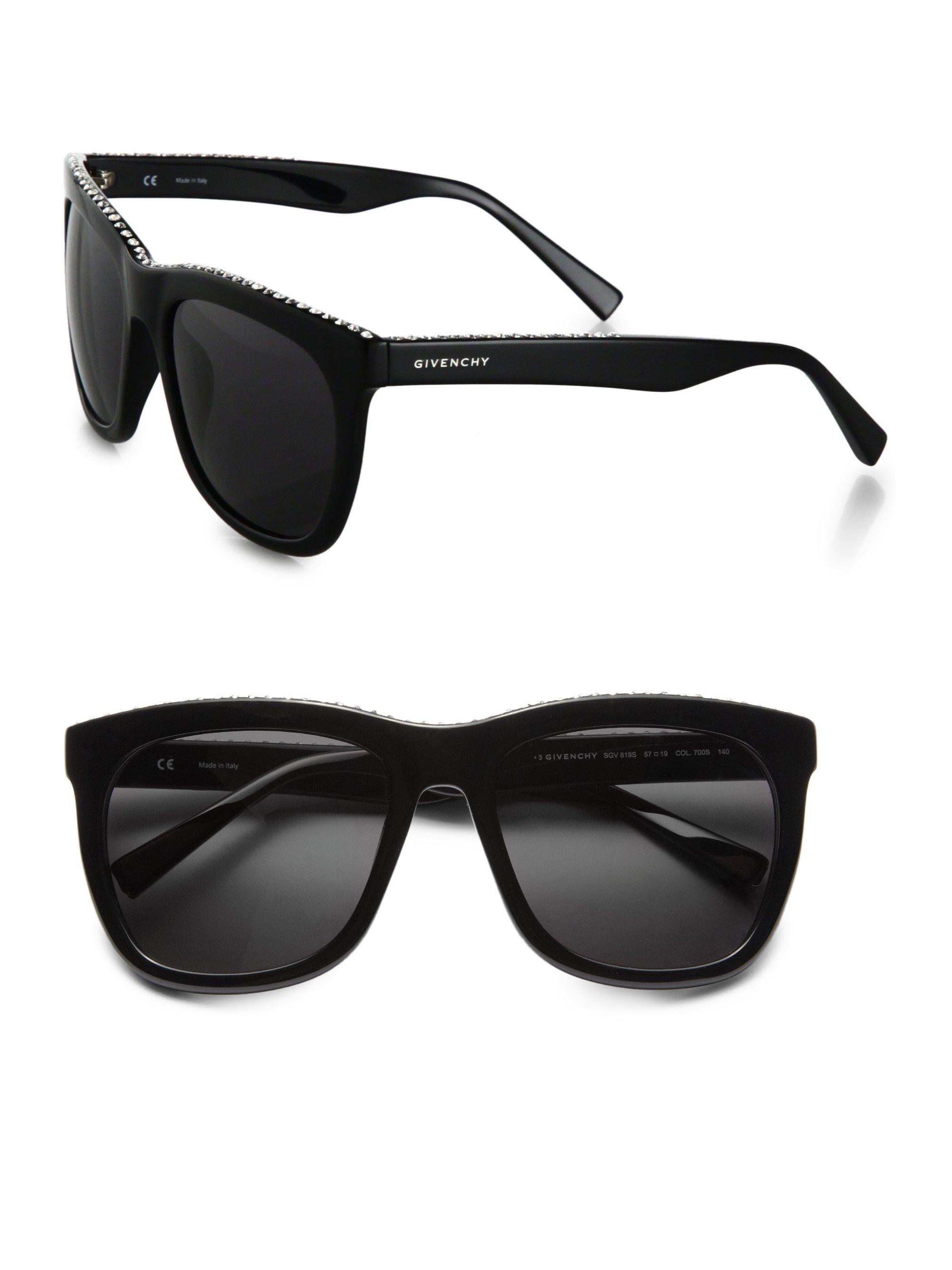 a1a29b8525eb Givenchy Swarovski Crystal Studded Square Sunglasses in Black - Lyst
