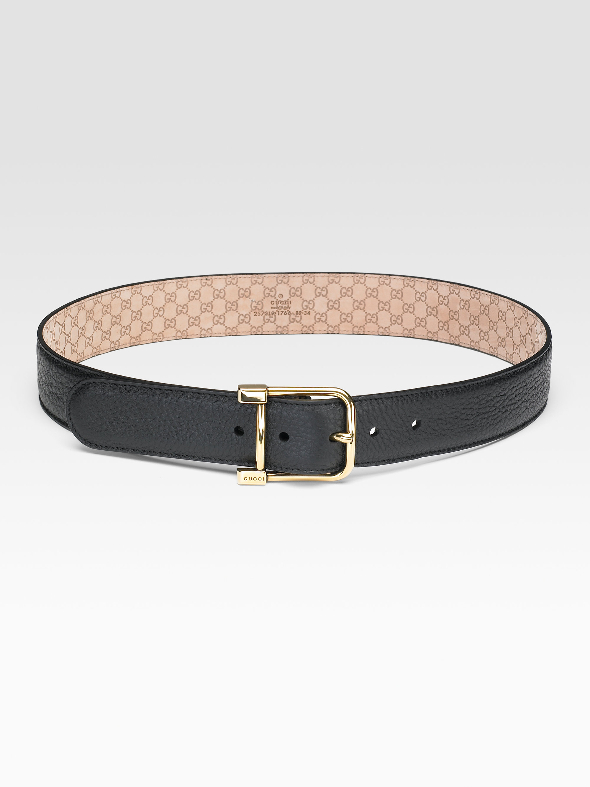 gucci leather belt in black lyst