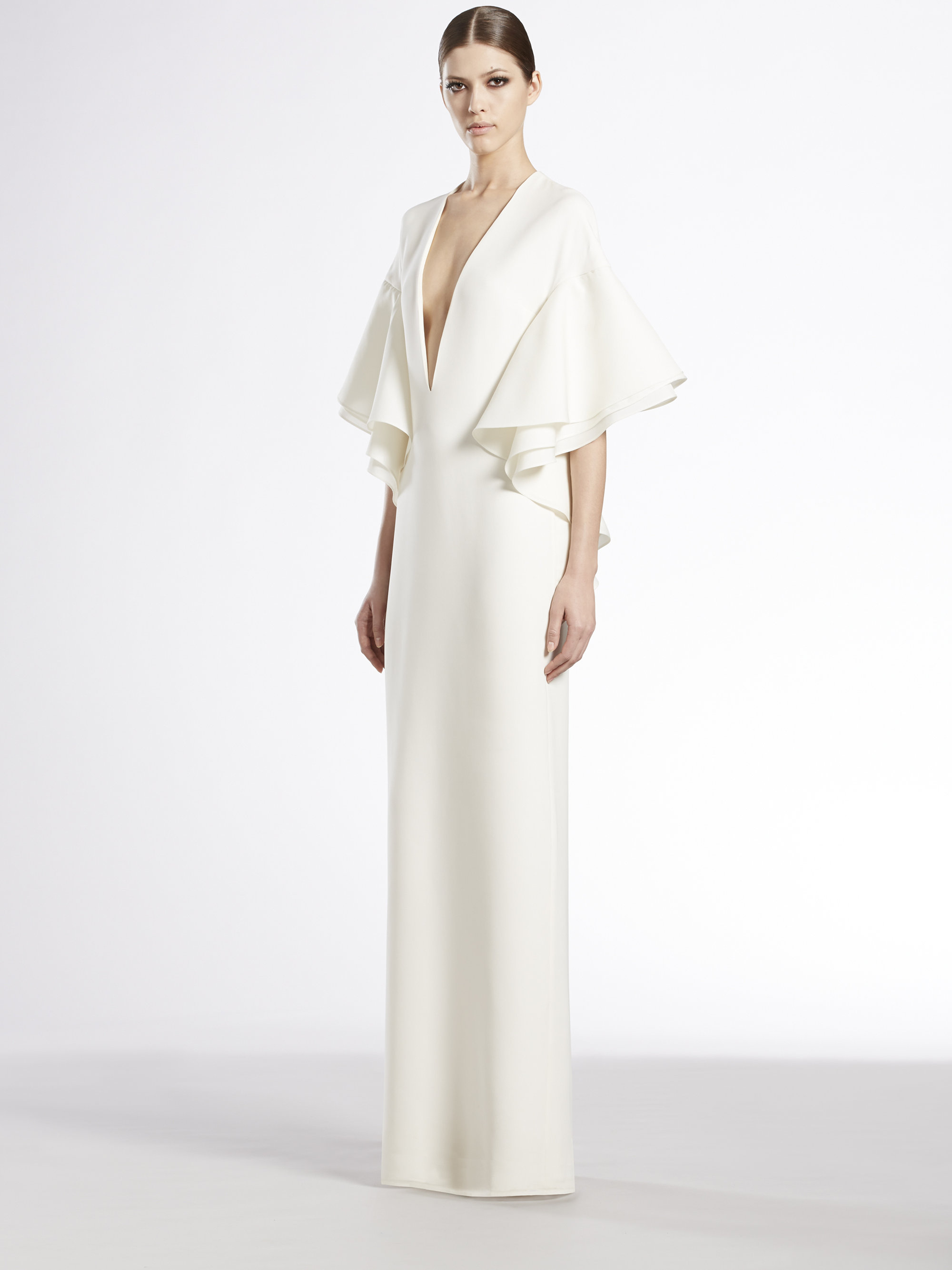 Lyst - Gucci Silk Cady Flounce Gown in White