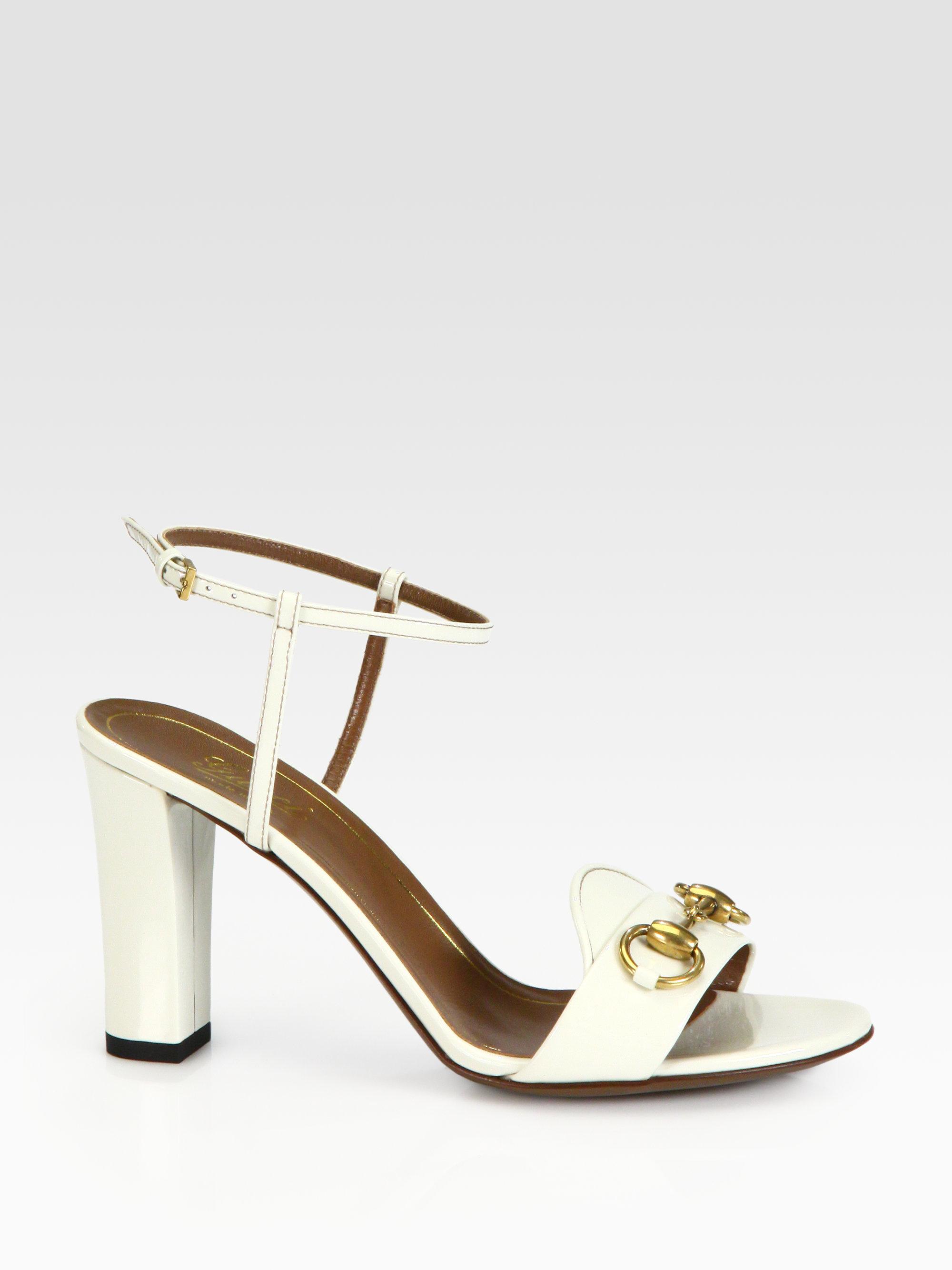 41309d57c149 Lyst - Gucci Patent Leather Horsebit Sandals in White