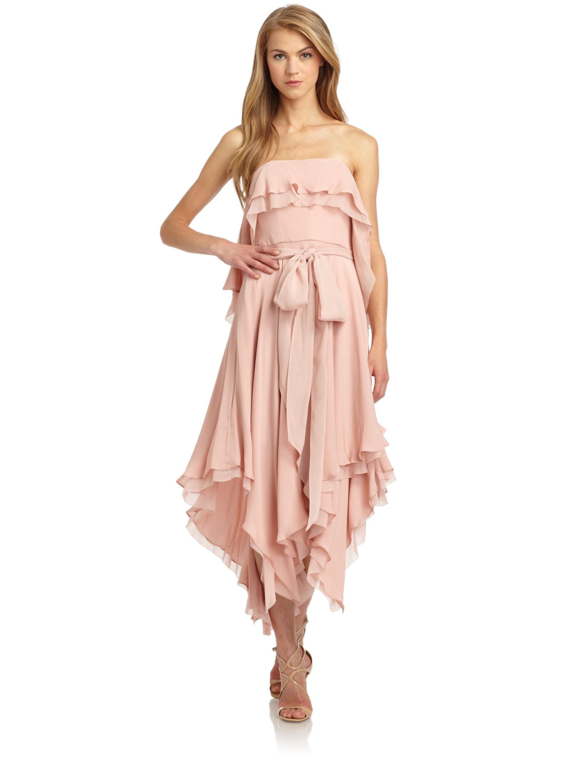 Halston Silk Chiffon Draped Handkerchief Dress In Pink Lyst