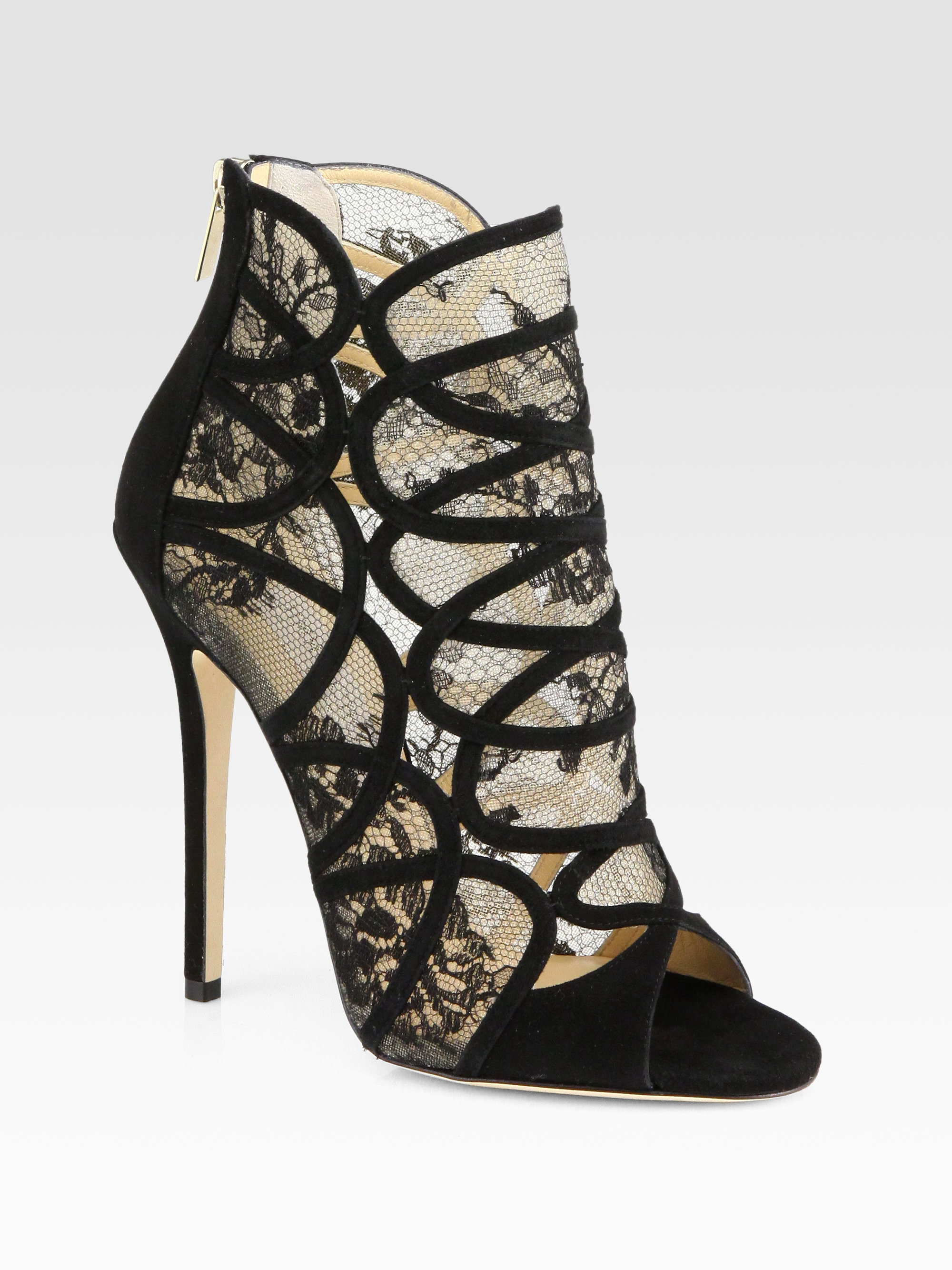 Jimmy Choo Flaunt Lace Suede Ankle