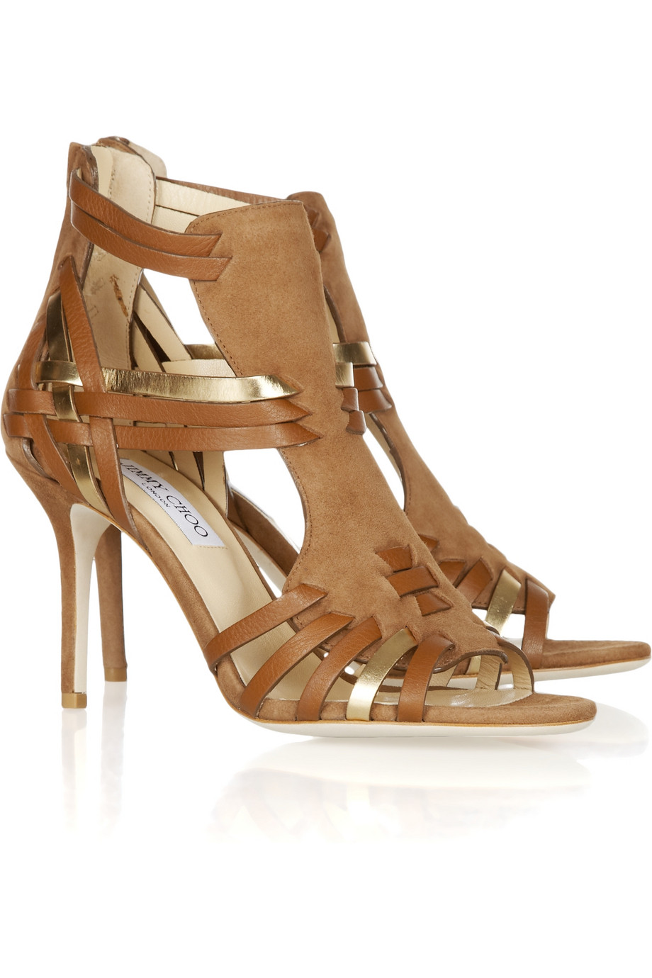 caf759970e7 Lyst - Jimmy Choo Margy Woven Leather And Suede Sandals in Brown