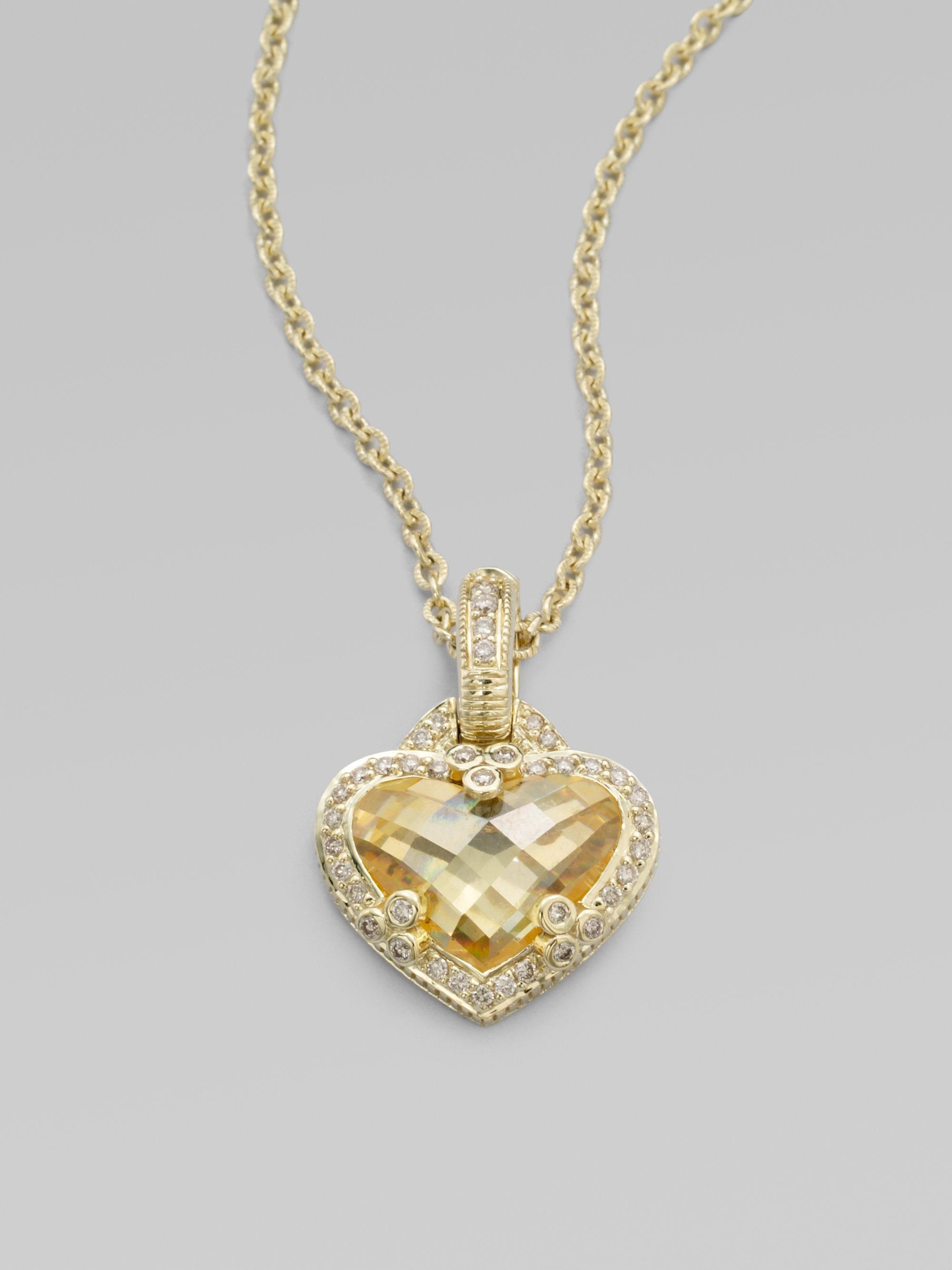 Lyst judith ripka diamond accented 14k gold crystal heart pendant gallery aloadofball Gallery