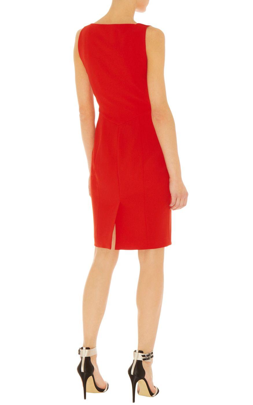 Karen millen minimal shift dress in red lyst