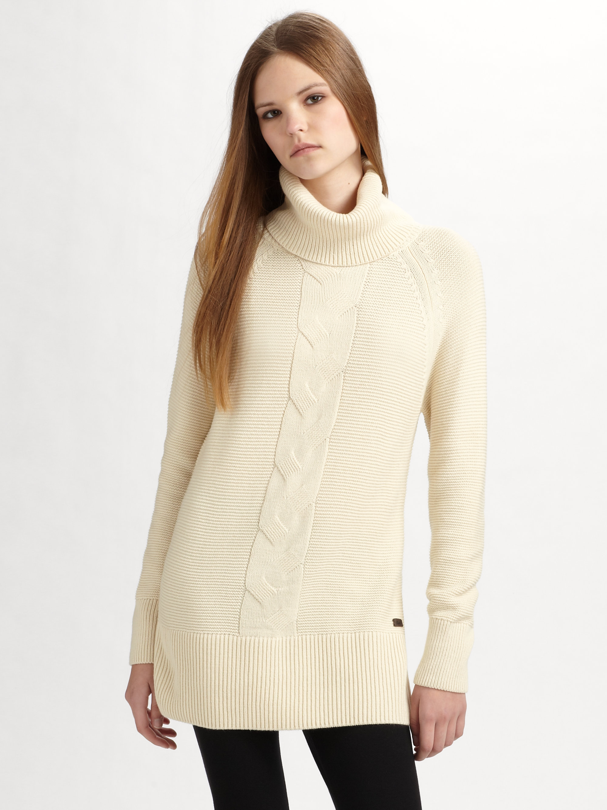 Lacoste Cable Knit Tunic Sweater in Natural Lyst
