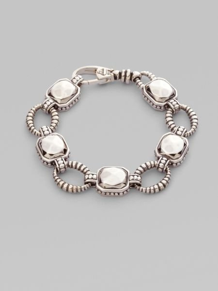 Lagos Sterling Silver Rock Circle Link Bracelet In Silver